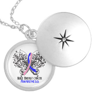 Male Breast Cancer Flourish Butterfly Ribbon Round Locket Necklace