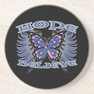 Male Breast Cancer Hope Believe Butterfly Coasters