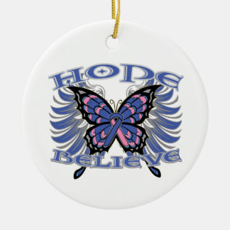 Male Breast Cancer Hope Believe Butterfly Christmas Tree Ornament