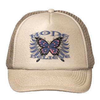 Male Breast Cancer Hope Believe Butterfly Mesh Hats