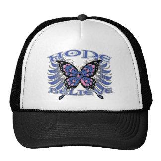 Male Breast Cancer Hope Believe Butterfly Hats