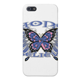 Male Breast Cancer Hope Believe Butterfly iPhone 5 Cover