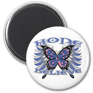 Male Breast Cancer Hope Believe Butterfly Magnets