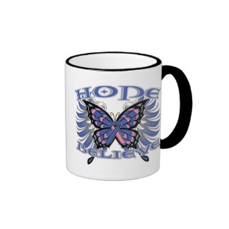 Male Breast Cancer Hope Believe Butterfly Mug