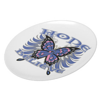 Male Breast Cancer Hope Believe Butterfly Party Plate