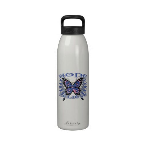 Male Breast Cancer Hope Believe Butterfly Reusable Water Bottles