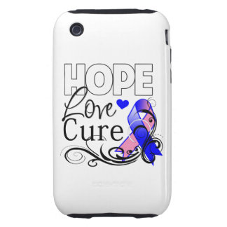 Male Breast Cancer Hope Love Cure iPhone 3 Tough Case
