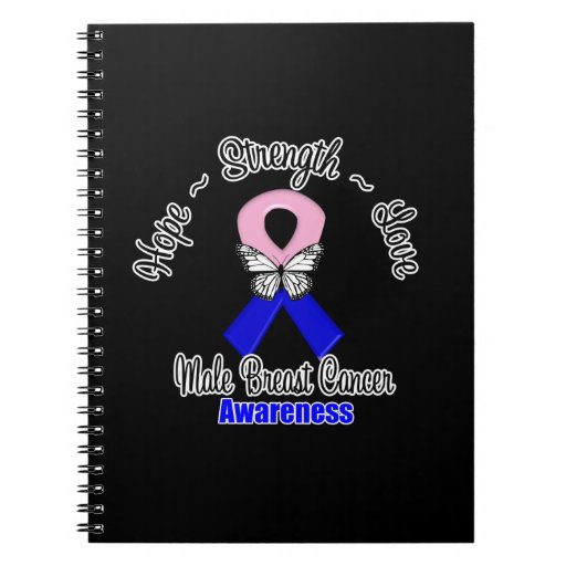 Male Breast Cancer  Hope Strength Love Spiral Notebook