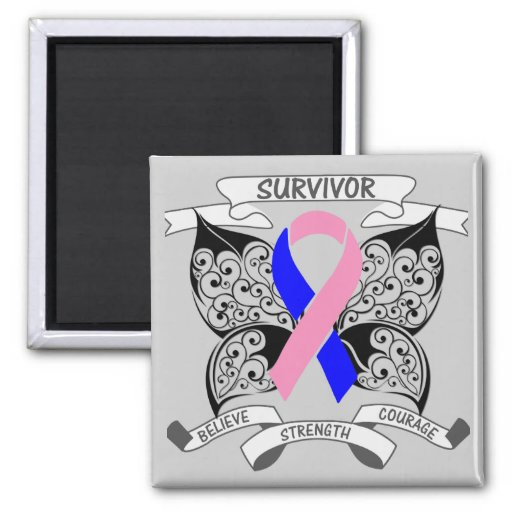 Male Breast Cancer Survivor Butterfly Strength Magnets
