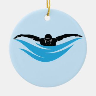 Male Butterfly Swimmer Christmas Ornament