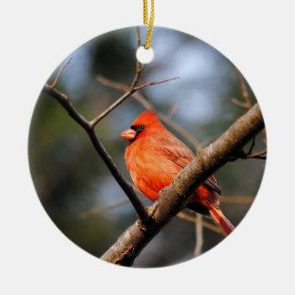 Male Cardinal 5 Round Ceramic Decoration