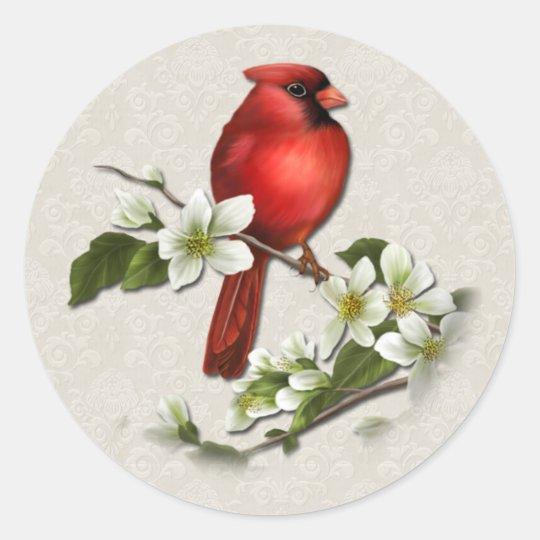 Male Cardinal and Dogwood Sticker
