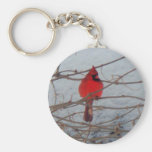 Male Cardinal Basic Round Button Key Ring