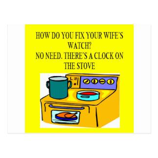 male chauvinist pig joke postcard