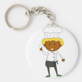 Male chef having thumb up basic round button key ring