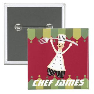 Male chef pantaloons giant fork name badge