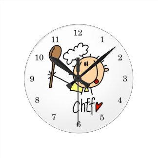 Male Chef Round Clock