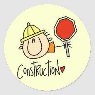 Male Construction Worker Classic Round Sticker