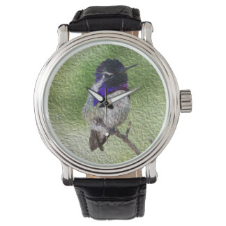 Male Costa Hummingbird Perched on a Branch Wrist Watch