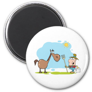 Male Farmer With Horse 6 Cm Round Magnet
