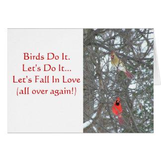 MALE & FEMALE CARDINAL IN TREE/ BIRDS DO IT/ VALEN STATIONERY NOTE CARD