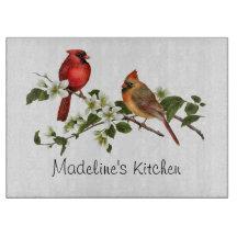Male Female Cardinal on Dogwood Branch