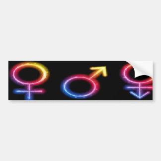 male female transgender rainbow symbol bumper stic bumper sticker