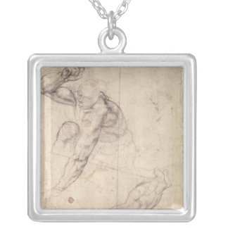 Male figure study silver plated necklace