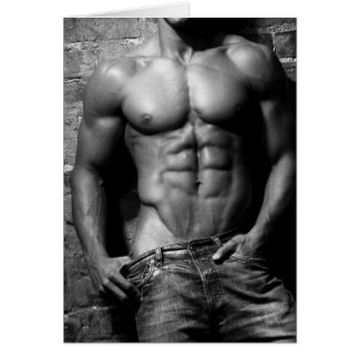 Male Fitness Model Greeting Card 3456