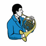 Male French Horn Player Blue Suit Photo Cut Out