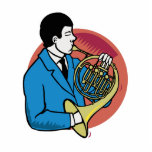 Male French Horn Player Blue Suit Pink Background Photo Cutouts