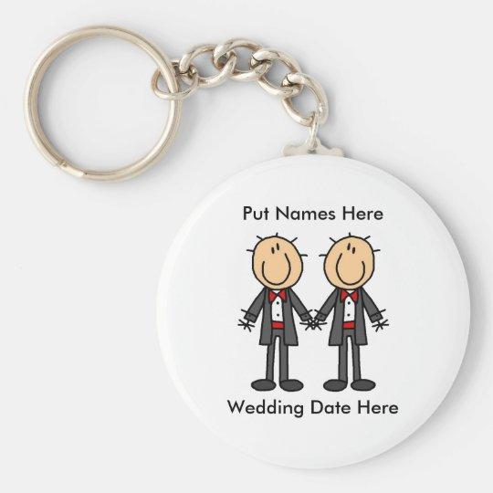 Male Gay Wedding To Customise Basic Round Button Key Ring