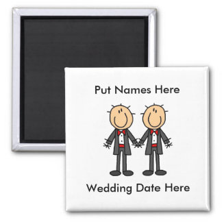 Male Gay Wedding To Customize Square Magnet