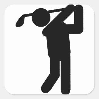 Male Golfer - Golf Symbol Square Sticker