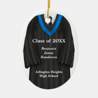 Male Grad Gown Black and Blue Ornament