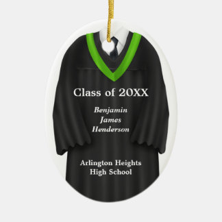 Male Grad Gown Black and Green Ornament