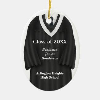 Male Grad Gown Black and White Ornament