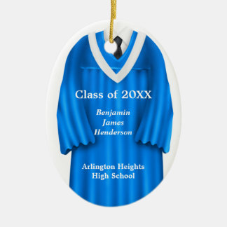 Male Grad Gown Blue and White Ornament