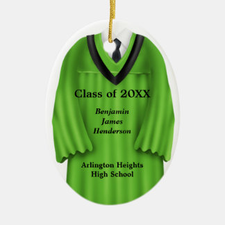 Male Grad Gown Green and Black Ornament