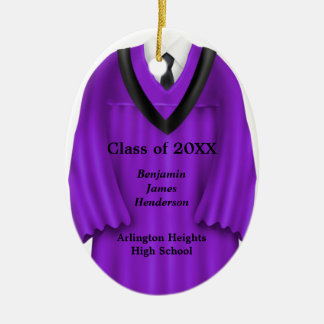 Male Grad Gown Purple and Black Ornament