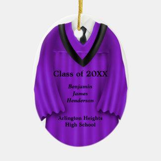 Male Grad Gown Purple and Black Ornament