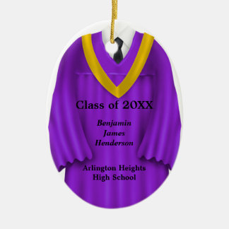 Male Grad Gown Purple and Gold Ornament