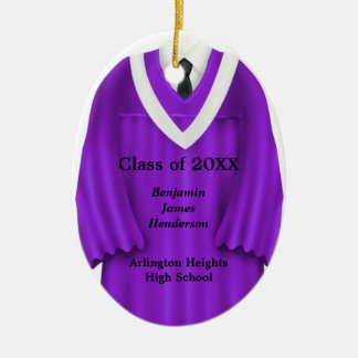 Male Grad Gown Purple and White Ornament