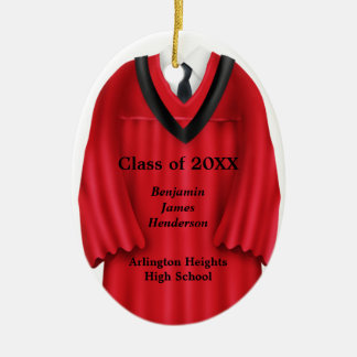 Male Grad Gown Red and Black Ornament