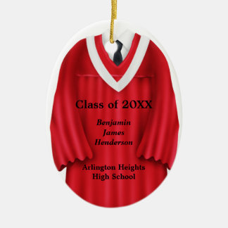 Male Grad Gown Red and White Ornament