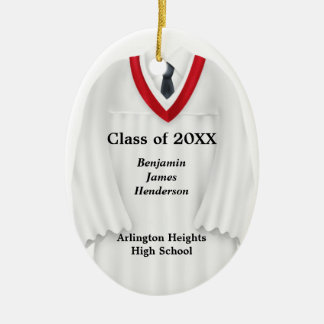 Male Grad Gown White and Red Ornament
