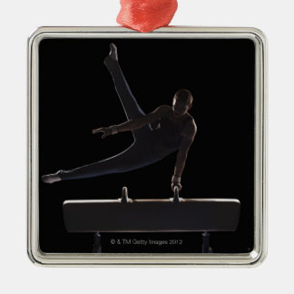 Male gymnast on pommel horse christmas ornament