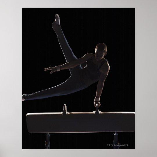 Male gymnast on pommel horse poster