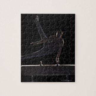 Male gymnast on pommel horse puzzle
