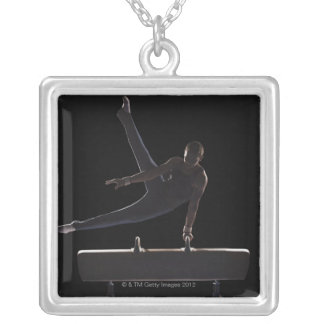 Male gymnast on pommel horse silver plated necklace